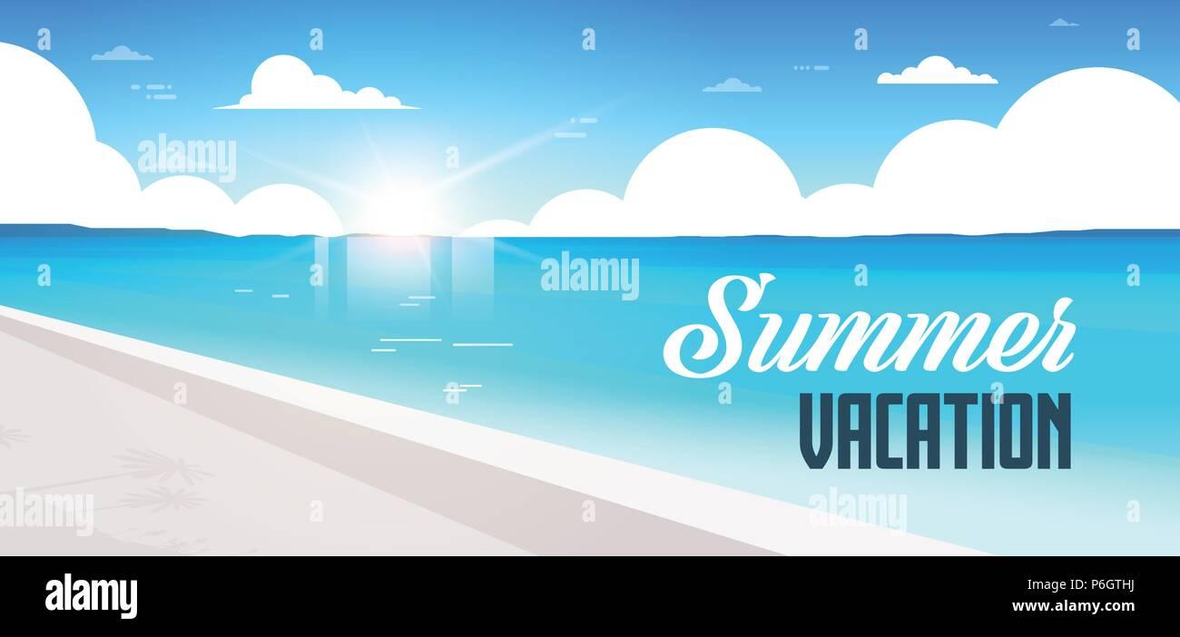 sunrise beach view summer vacation seaside sea ocean flat banner lettering - Stock Vector
