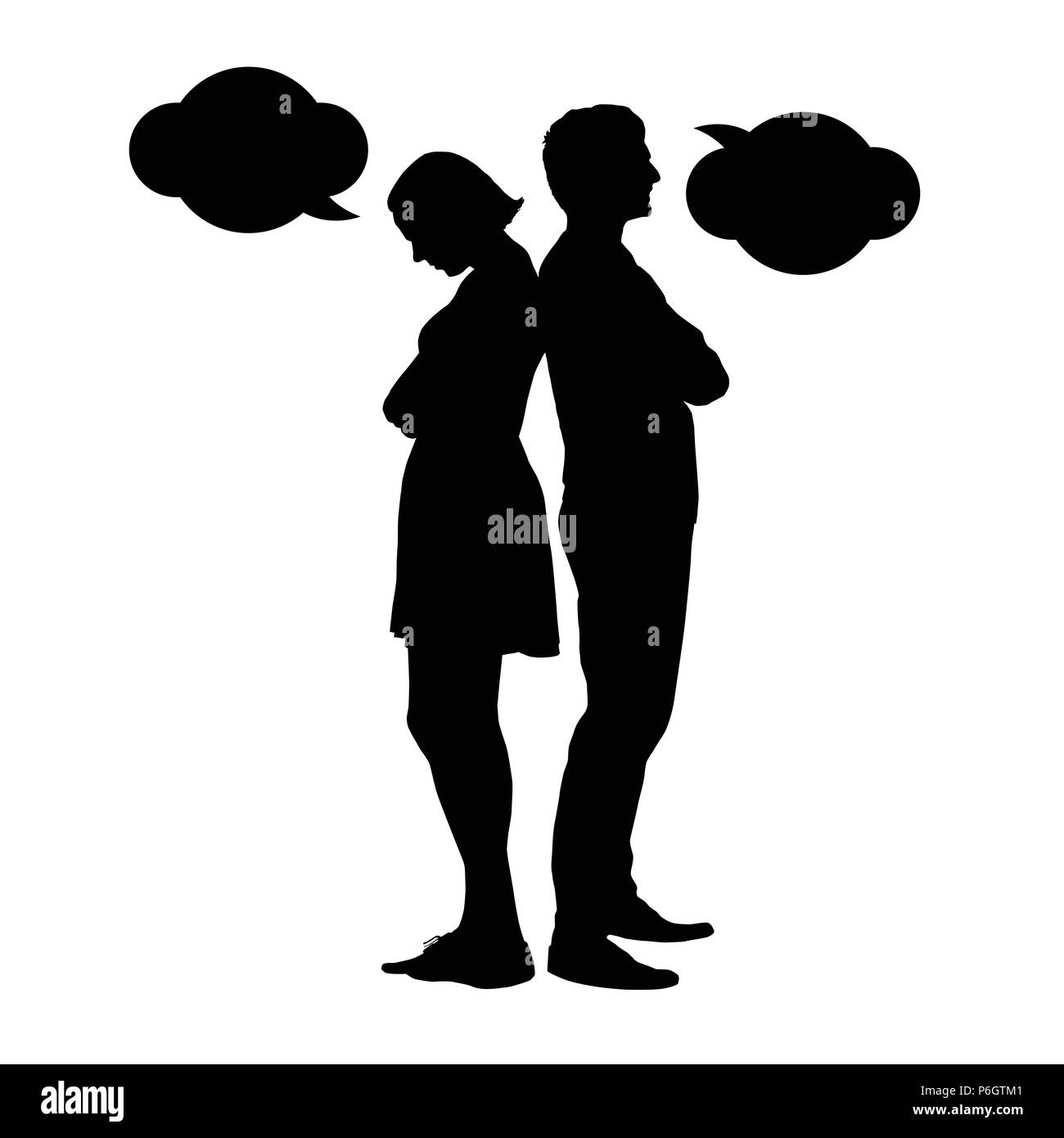 Silhouette of a young couple in a dispute - vektor - Stock Vector