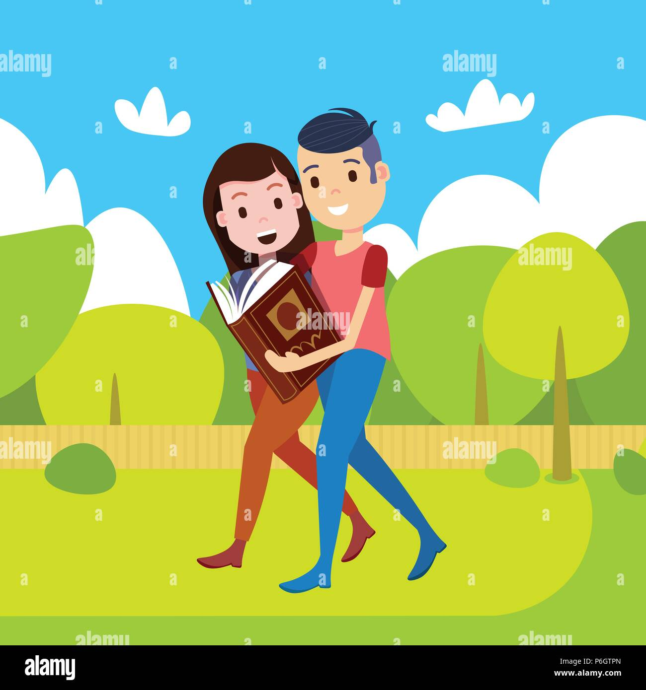 couple woman man reading book going straight park pathway character template for design work and animation copy space flat