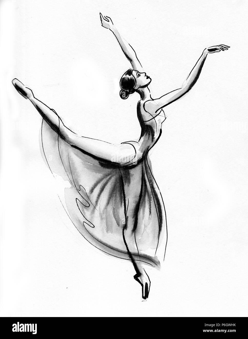 Dancing Ballerina Ink Black And White Illustration Stock Photo Alamy