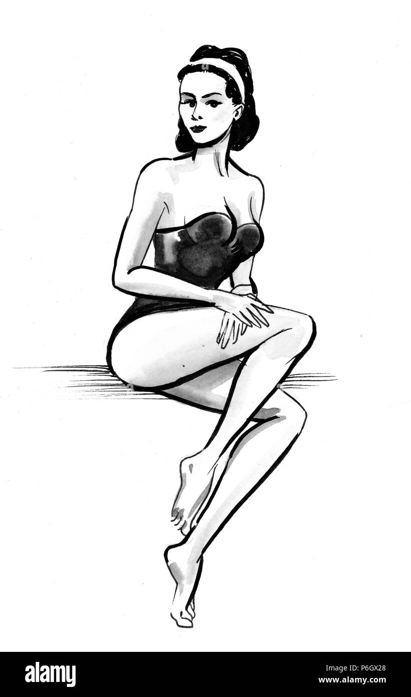 Beautiful woman in swimming suit. Ink black and white drawing - Stock Image