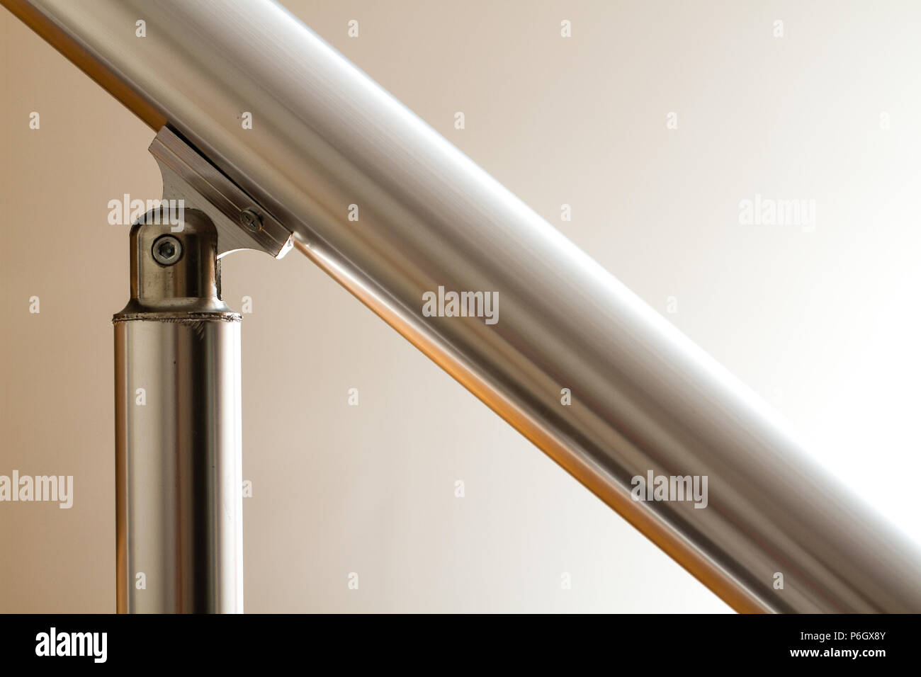 View of aluminium stair railing and joint element - Stock Image