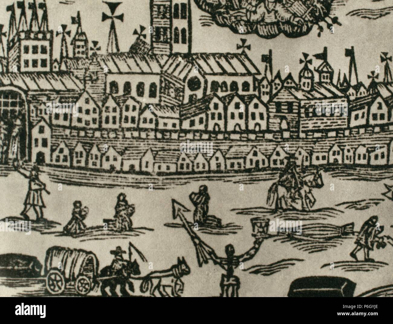 1665-1666. Contemporary engraving. People fleeing the city, corpse being  taken away and women praying. Great Britain.