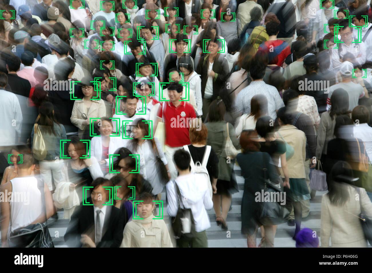 Face detection, surveillance, camera image, face tracking, symbolic image, Stock Photo