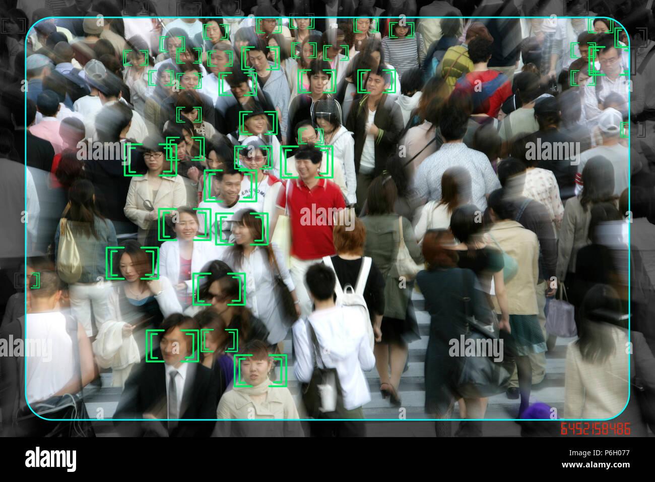 Face detection, surveillance, camera image, face tracking, symbolic image, - Stock Image