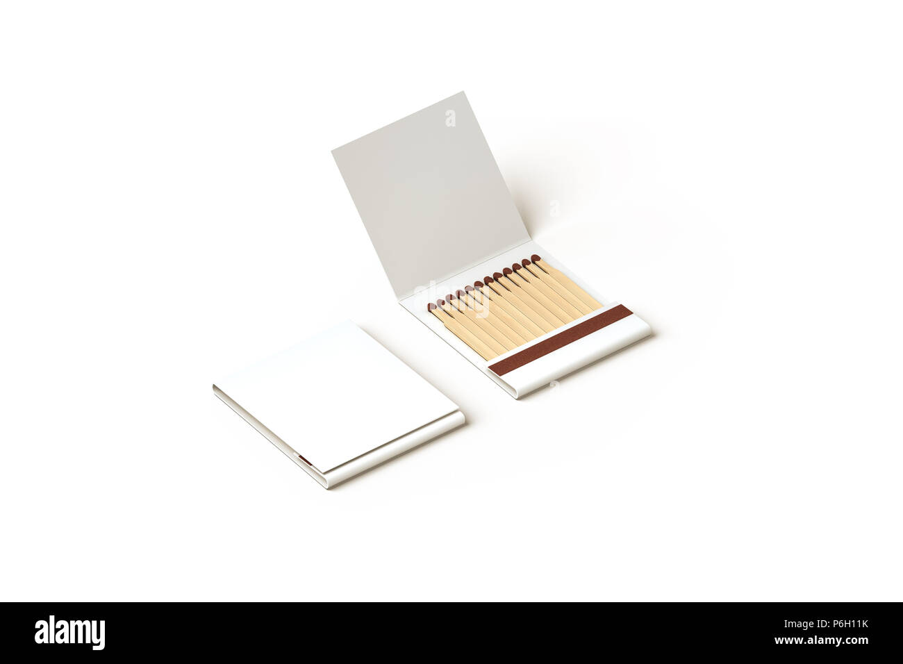 Blank promo matches book mock up, clipping path, 3d rendering. Empty paper match box packaging mockup isolated. Matchbook case top side view design presentation. Opened matchbox. - Stock Image