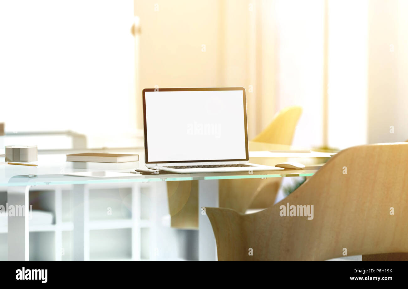 Blank laptop screen mockup in sunny office, depth of field effect, 3d rendering. Modern portable computer display mock up, glass desk, wooden chair, blurred background with sunset. Coworking work room - Stock Image