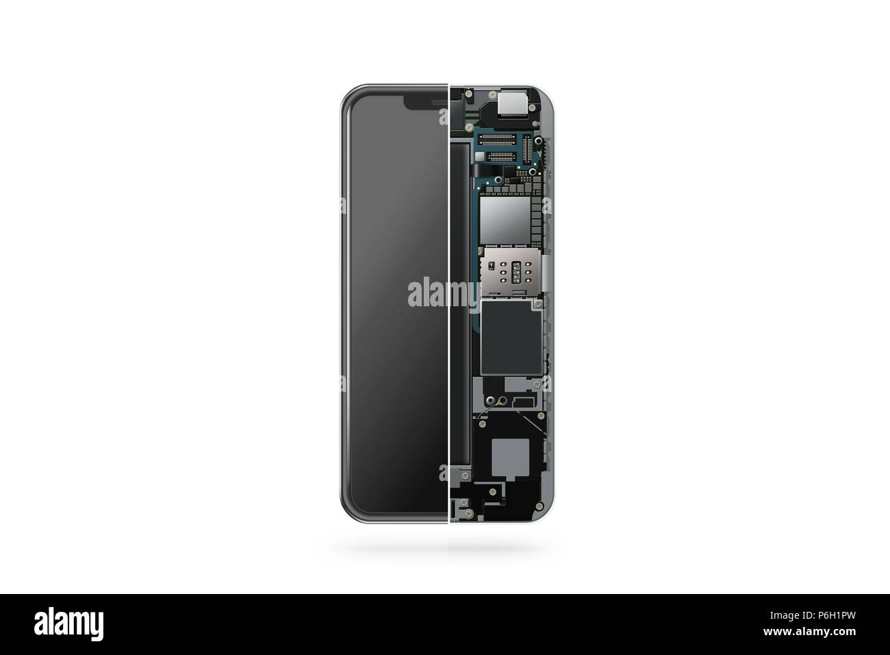 New modern smart phone internal isolated, chip, motherboard, processor, cpu and details, 3d rendering. Smart phone component repair. Cellphone chipset inside. Telephone scecification disassembled - Stock Image