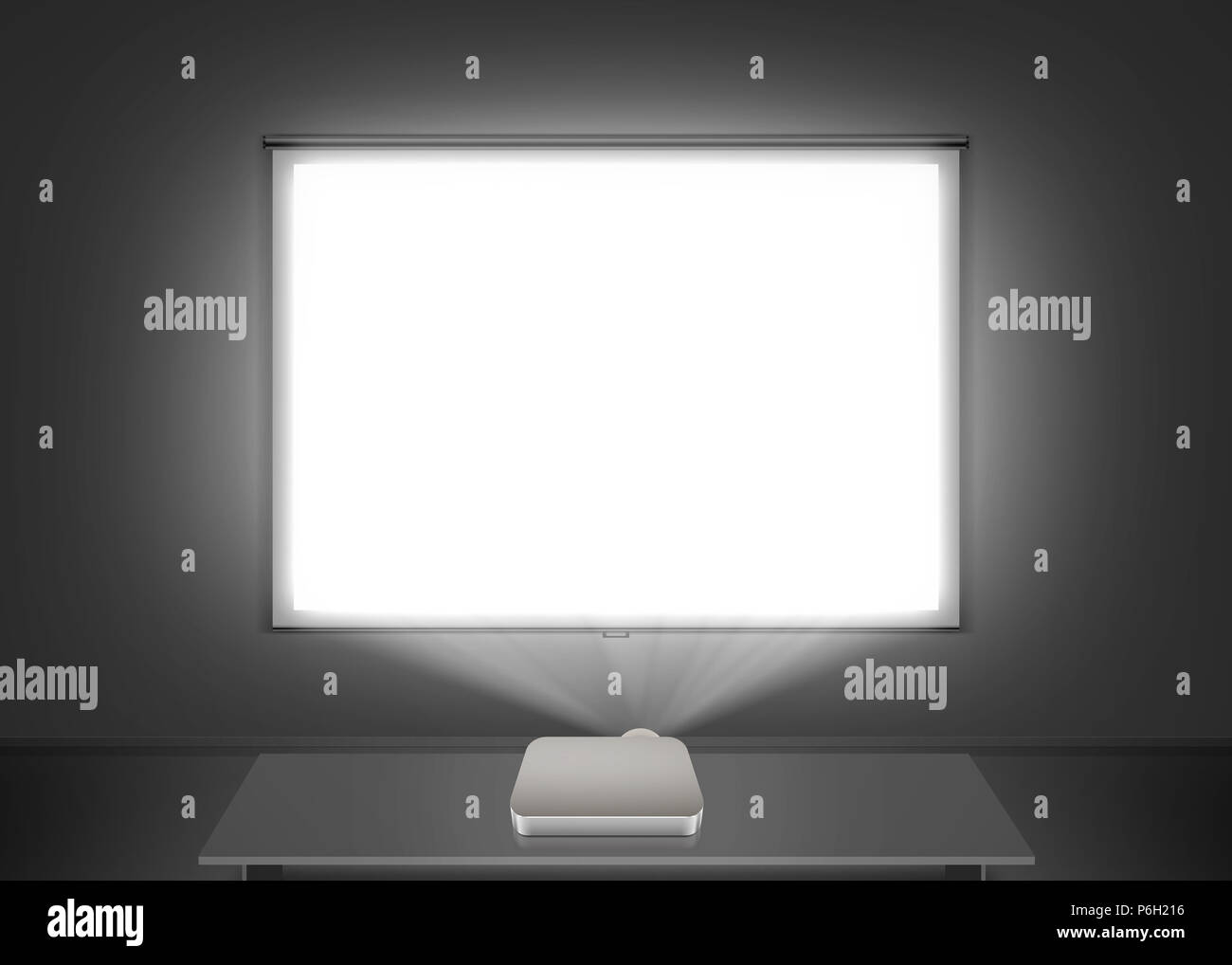 Blank projector screen mockup on the wall. Projection light in darkness. Projector display mock up. Presentation clear monitor on wall. Slide show front design. Slideshow frame. Cinema screen wall. - Stock Image