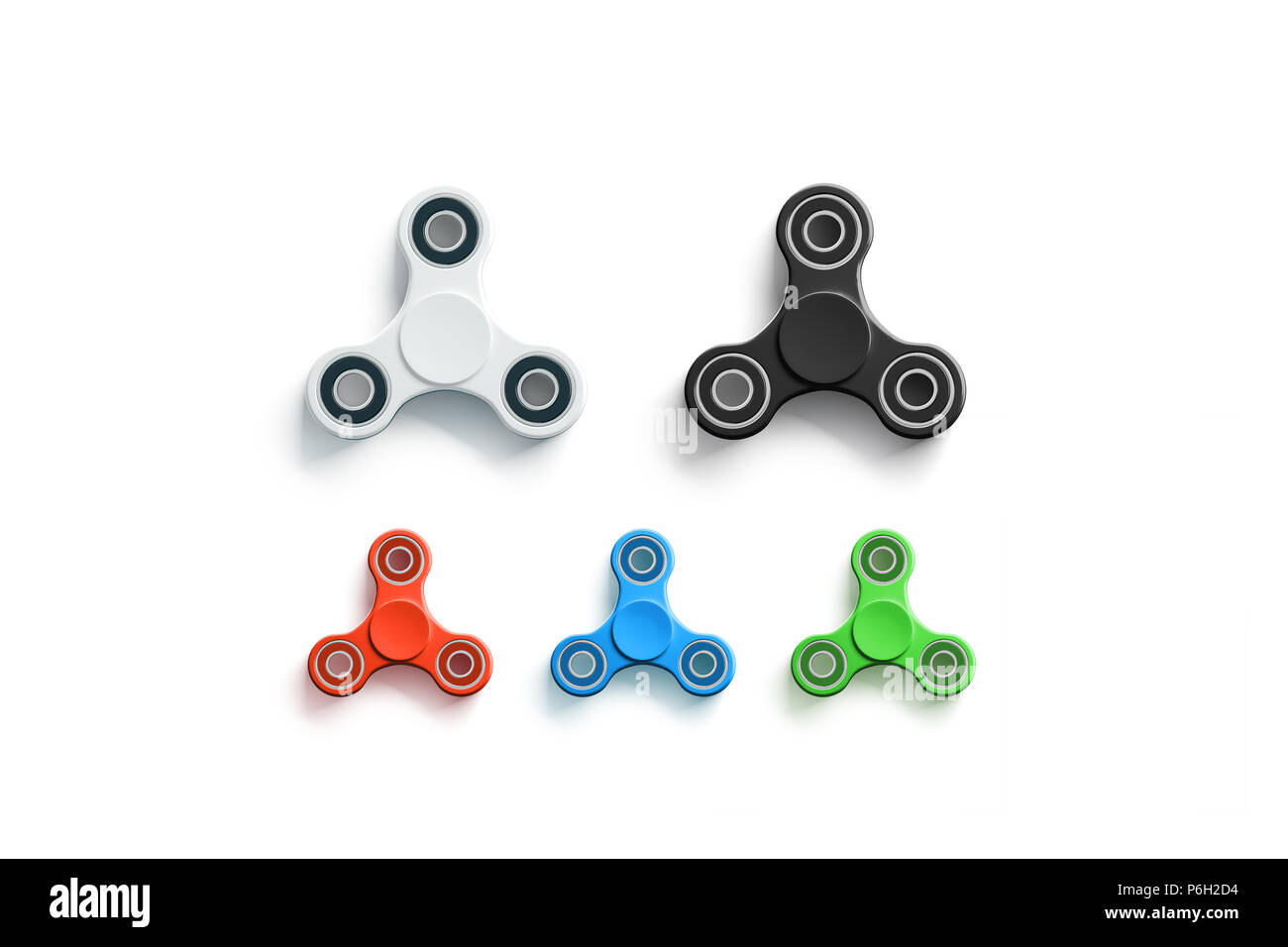 blank colored fidget spinners mock up top view 3d rendering clear spinning toy mockup design template empty stress reliever tri spinner
