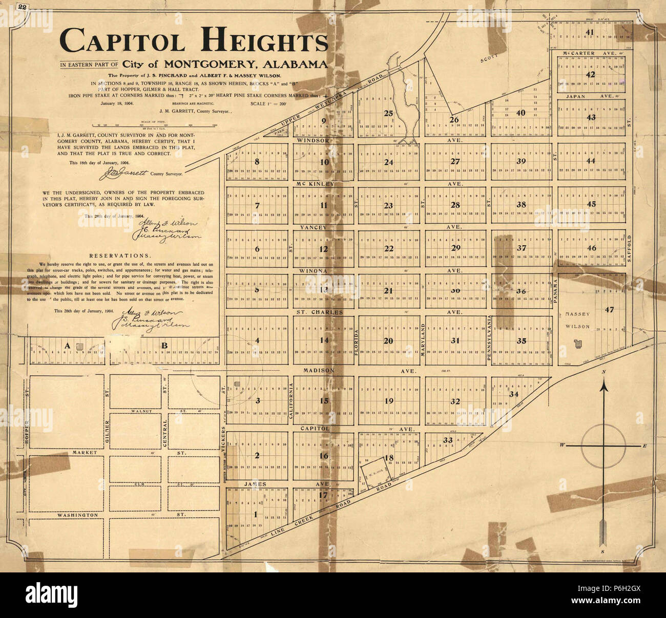 1904 map of Capitol Heights, Montgomery, Alabama Stock Photo ...