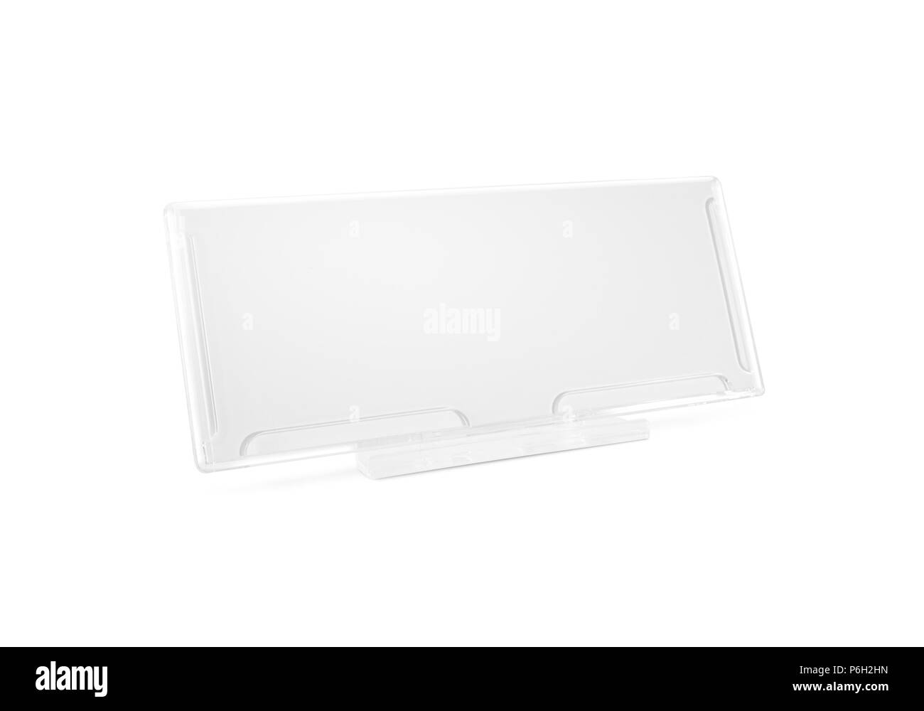 Plastic paper holder mock up stand on desk isolated. Nameplate