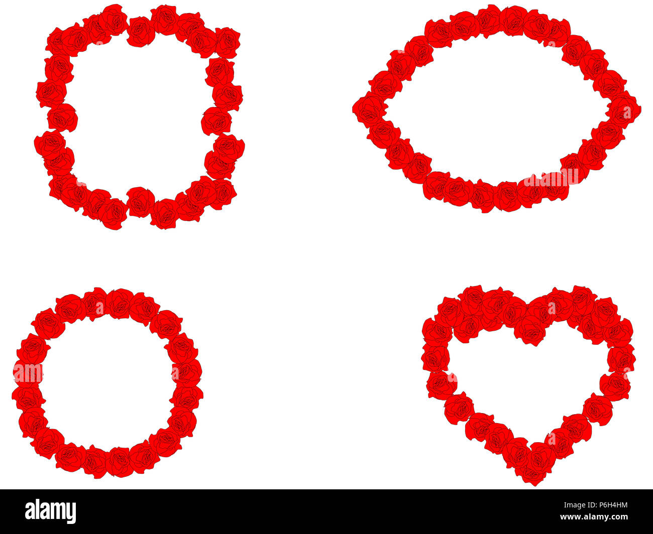 Floral set of red roses frames different shapes on white background ...
