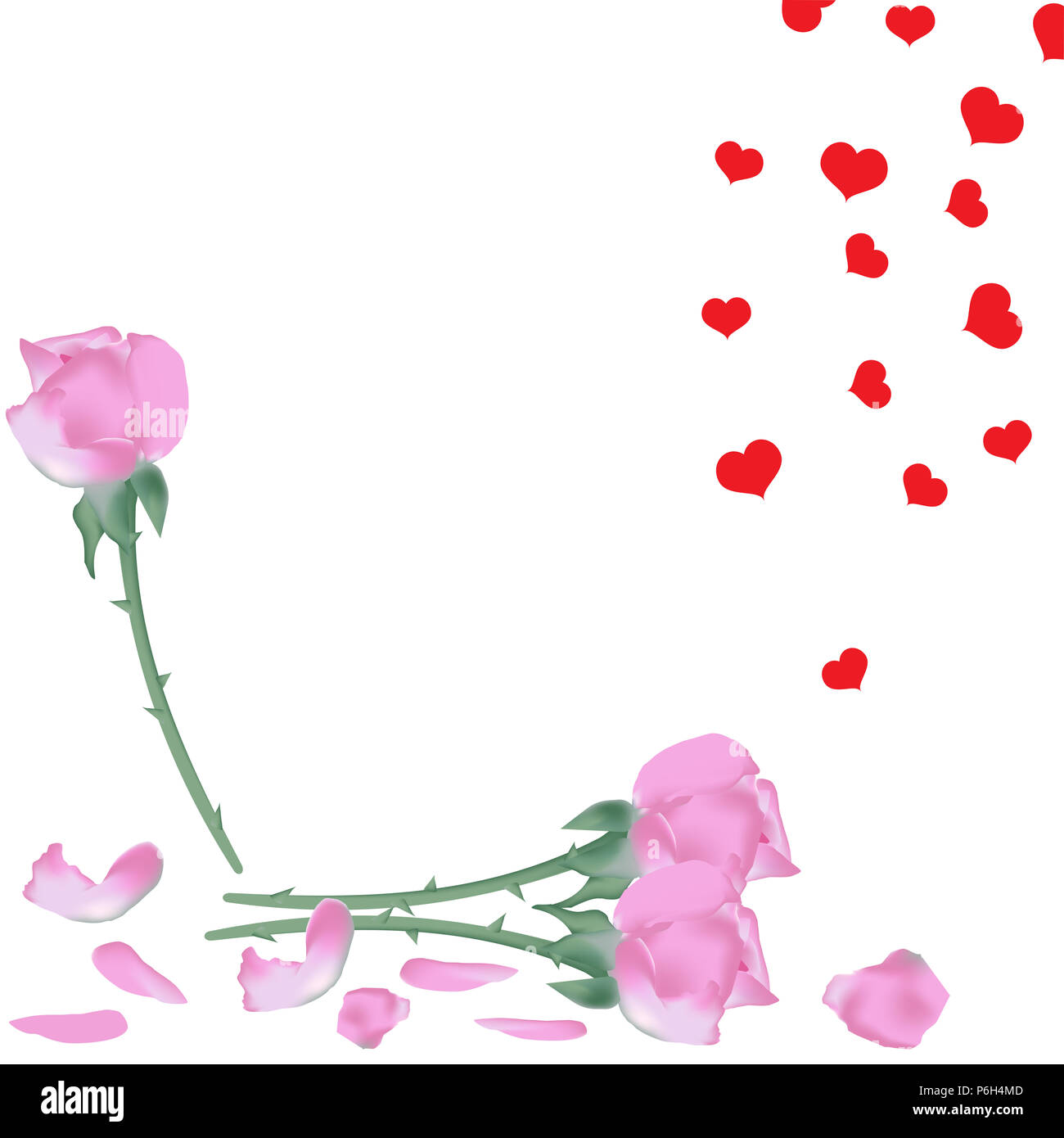 Pink Roses Flowers With Fallen Petals And Rain Of Red Hearts Vector