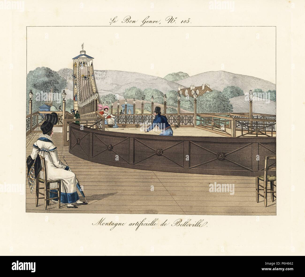The roller coaster at Belleville with its five cars riding a distance of 600 feet in 9 or 10 seconds. A fashionable woman in plumed bonnet, shawl and parasol watches from the terrace. Handcoloured engraving from Pierre de la Mesangere's Le Bon Genre, Paris, 1817. - Stock Image