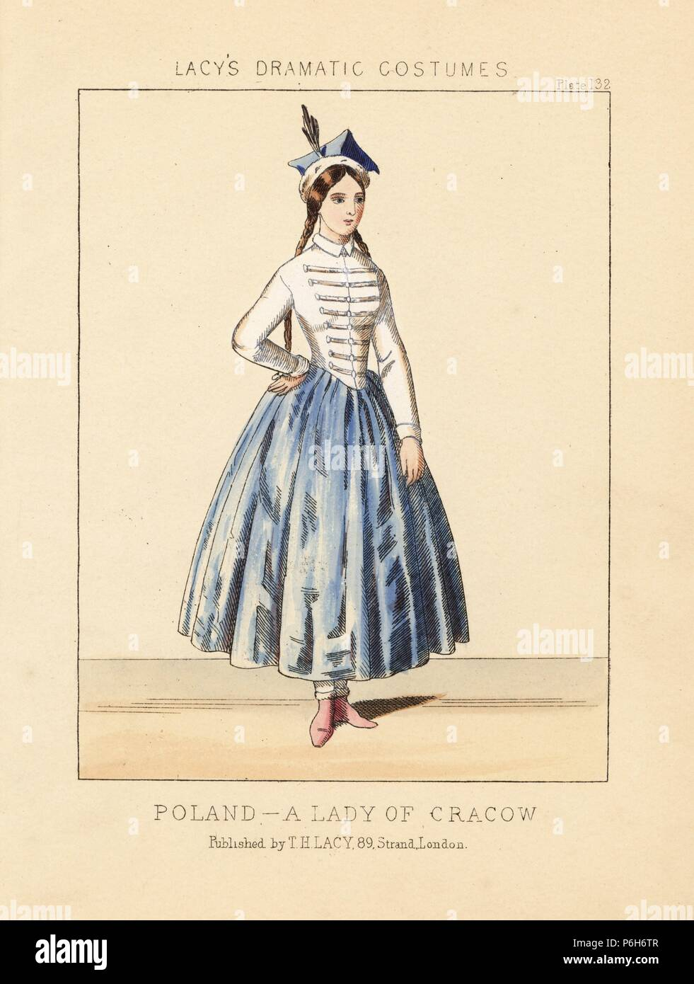 Costume of a lady of Cracow, Poland, 19th century. She wears a square hat with plume, white jacket with frogging, full blue skirts, red shoes. Handcoloured lithograph from Thomas Hailes Lacy's 'Female Costumes Historical, National and Dramatic in 200 Plates,' London, 1865. Lacy (1809-1873) was a British actor, playwright, theatrical manager and publisher. - Stock Image