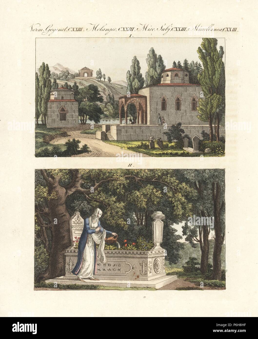 Turkish Mausoleum And Tomb, 18th Century. A Turkish Cemetery With Cypress  Trees And Mausoleums
