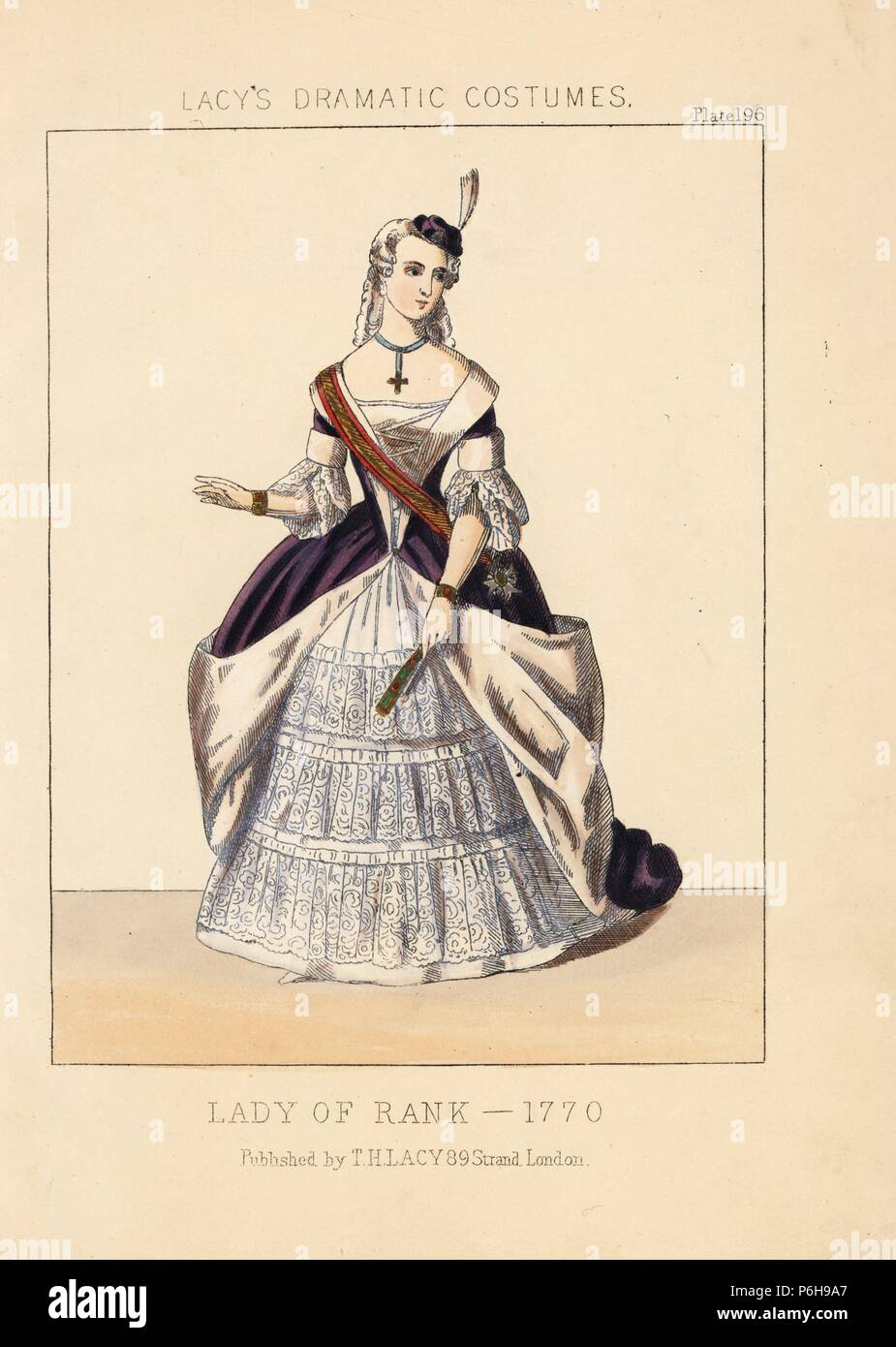 Lady of rank, 1770. She wears a tiny hat with feather, wig, choker with cross, purple dress lined with fur, lace sleeves, sash, and embroidered petticoat. Handcoloured lithograph from Thomas Hailes Lacy's 'Female Costumes Historical, National and Dramatic in 200 Plates,' London, 1865. Lacy (1809-1873) was a British actor, playwright, theatrical manager and publisher. - Stock Image
