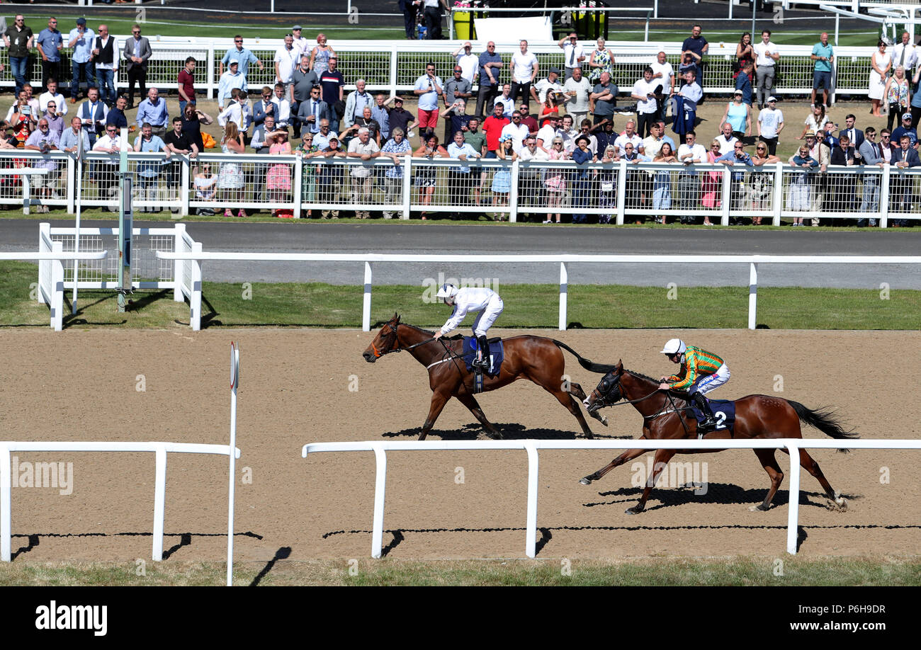 Florencio ridden by Ben Curtis wins the Datum Group Claiming Stakes race during Northumberland Plate Day at Newcastle Racecourse. - Stock Image