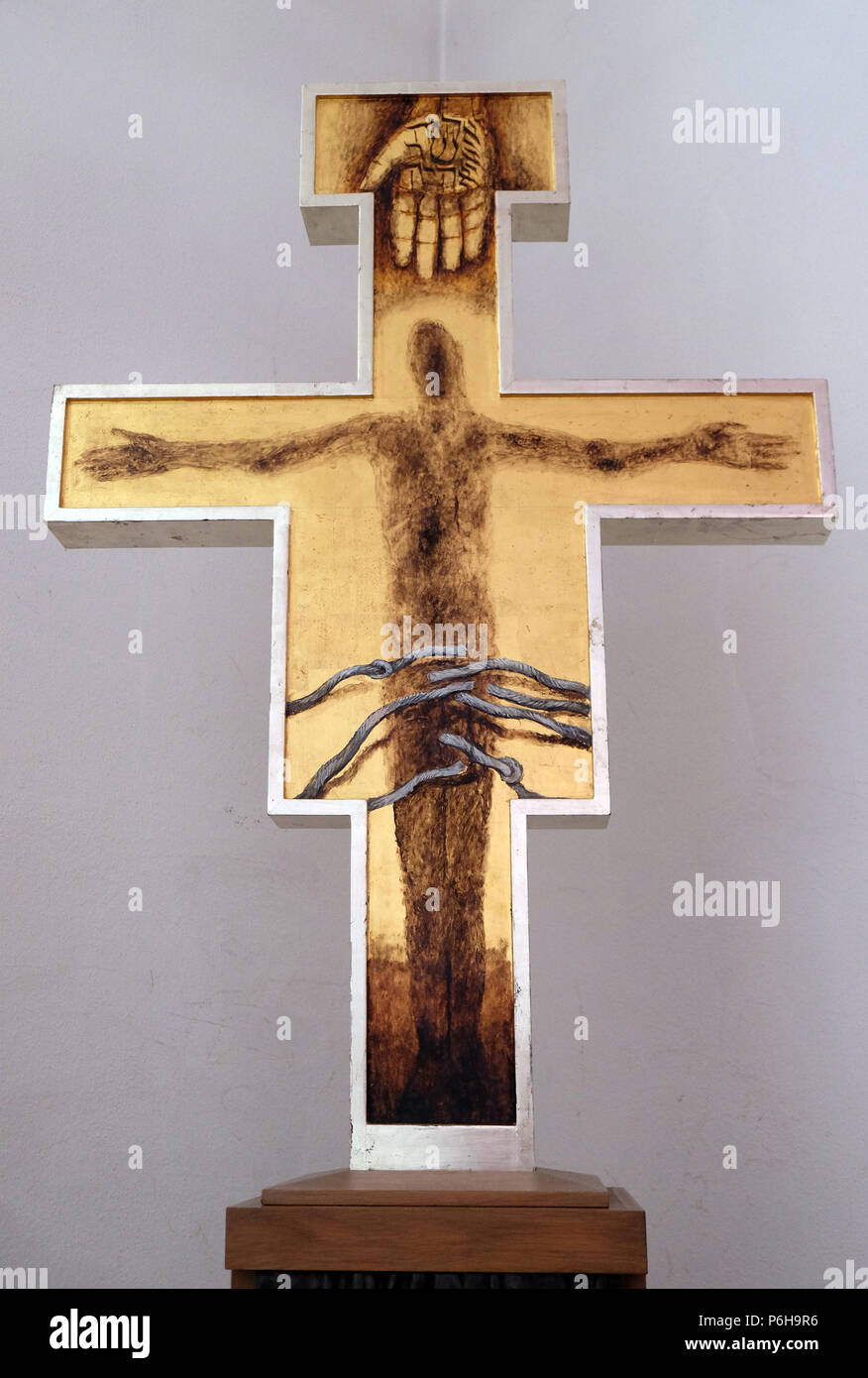 Cross by Sieger Koeder in the Chapel of St. Francis in Ellwangen, Germany Stock Photo