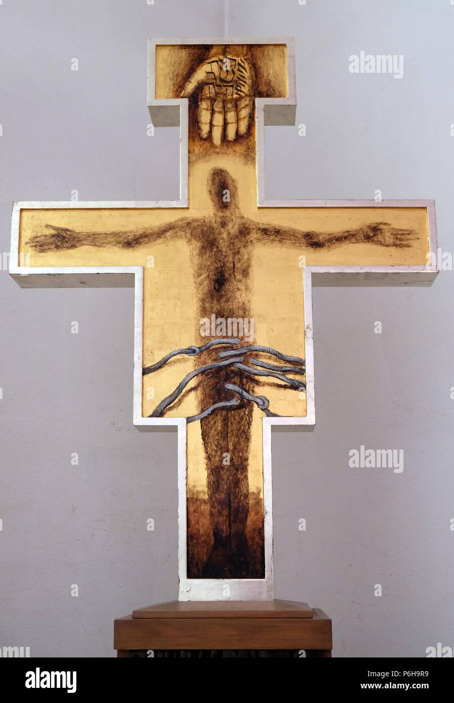 Cross by Sieger Koeder in the Chapel of St. Francis in Ellwangen, Germany Stock Photo