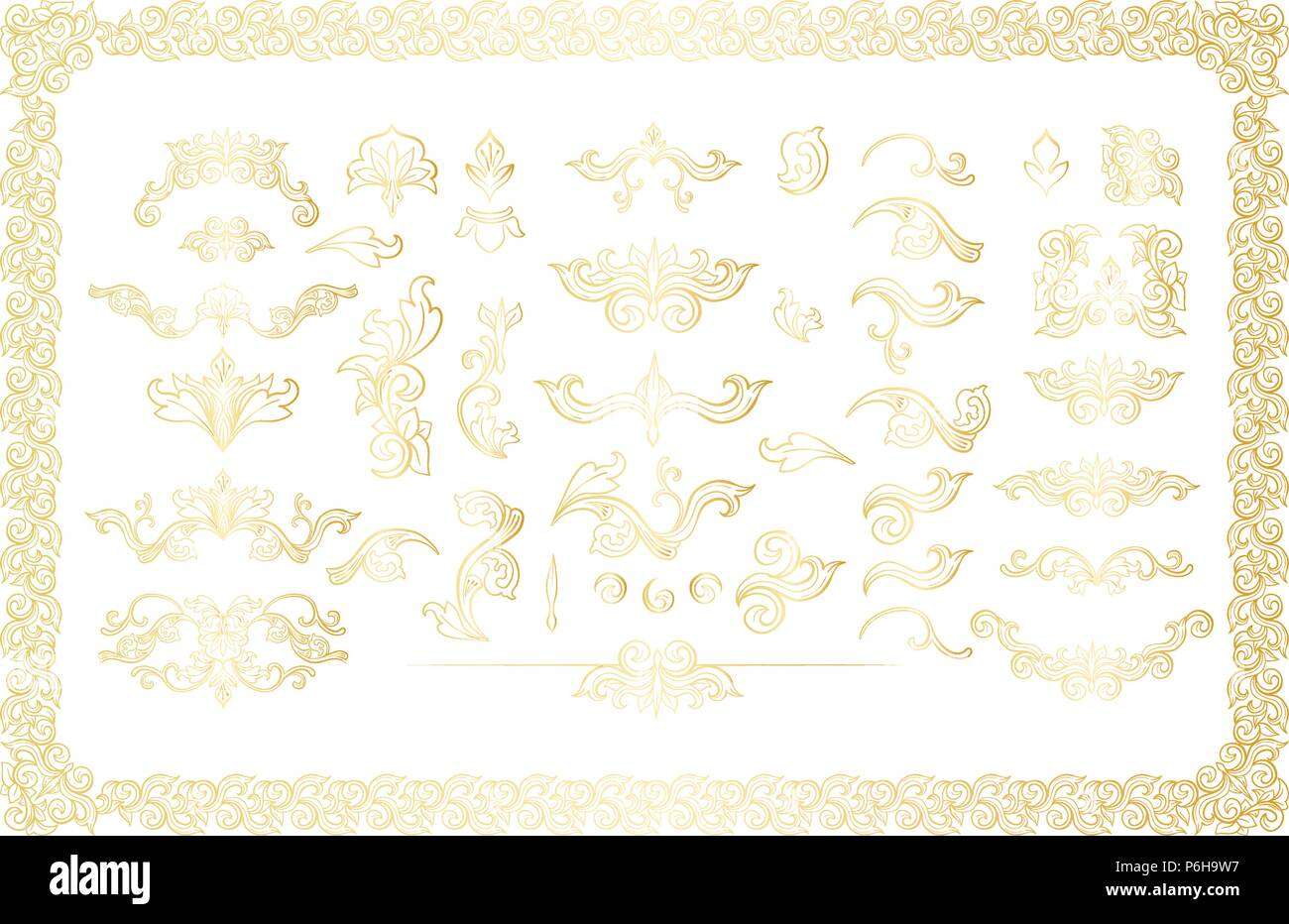 Gold Isolated Plants With Leaves Decorations Italian Flourish
