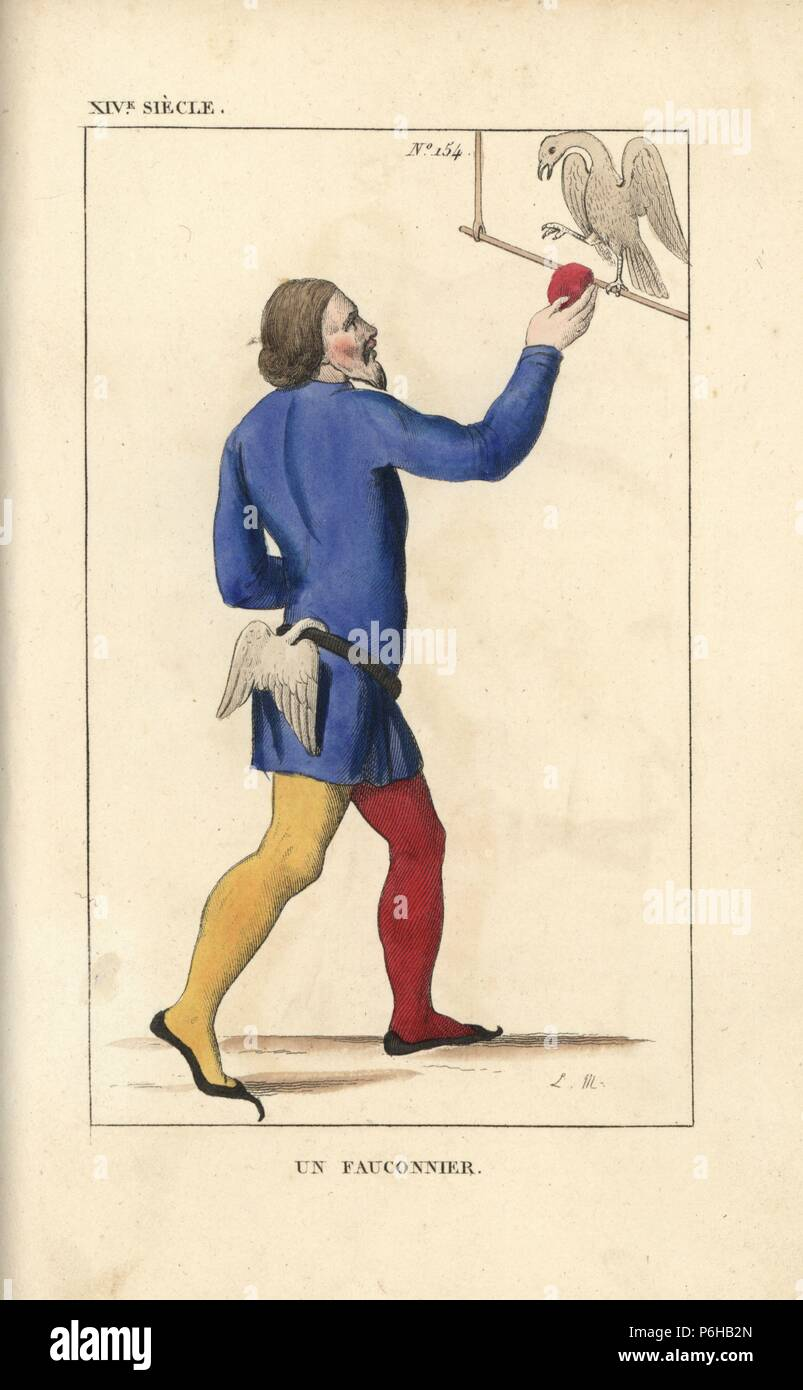 Falconer, 14th century. He wears a blue tunic, stockings in different colours, and a belt with a pair of wings attached. Handcoloured copperplate drawn and engraved by Leopold Massard from 'French Costumes from King Clovis to Our Days,' Massard, Mifliez, Paris, 1834. - Stock Image