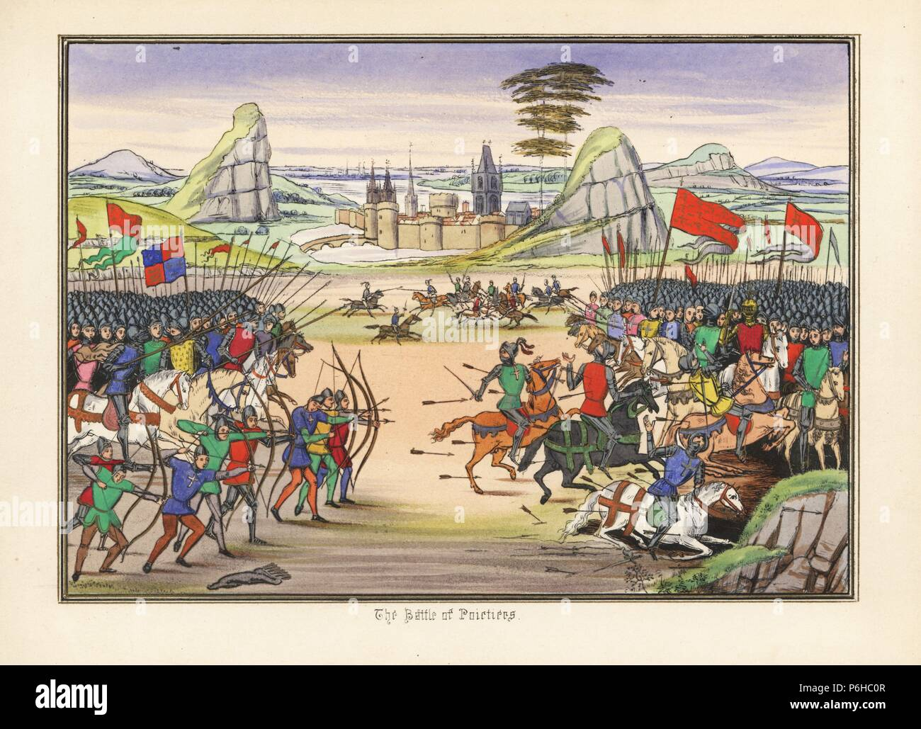 Battle of Poitiers, 1356, between the English under Edward the Black Prince and the French under King Jean II. The miniature depicts the English archers aiming at the horses of the French cavalry. Handcoloured lithograph after an illuminated manuscript from Sir John Froissart's 'Chronicles of England, France, Spain and the Adjoining Countries, from the Latter Part of the Reign of Edward II to the Coronation of Henry IV,' George Routledge, London, 1868. - Stock Image