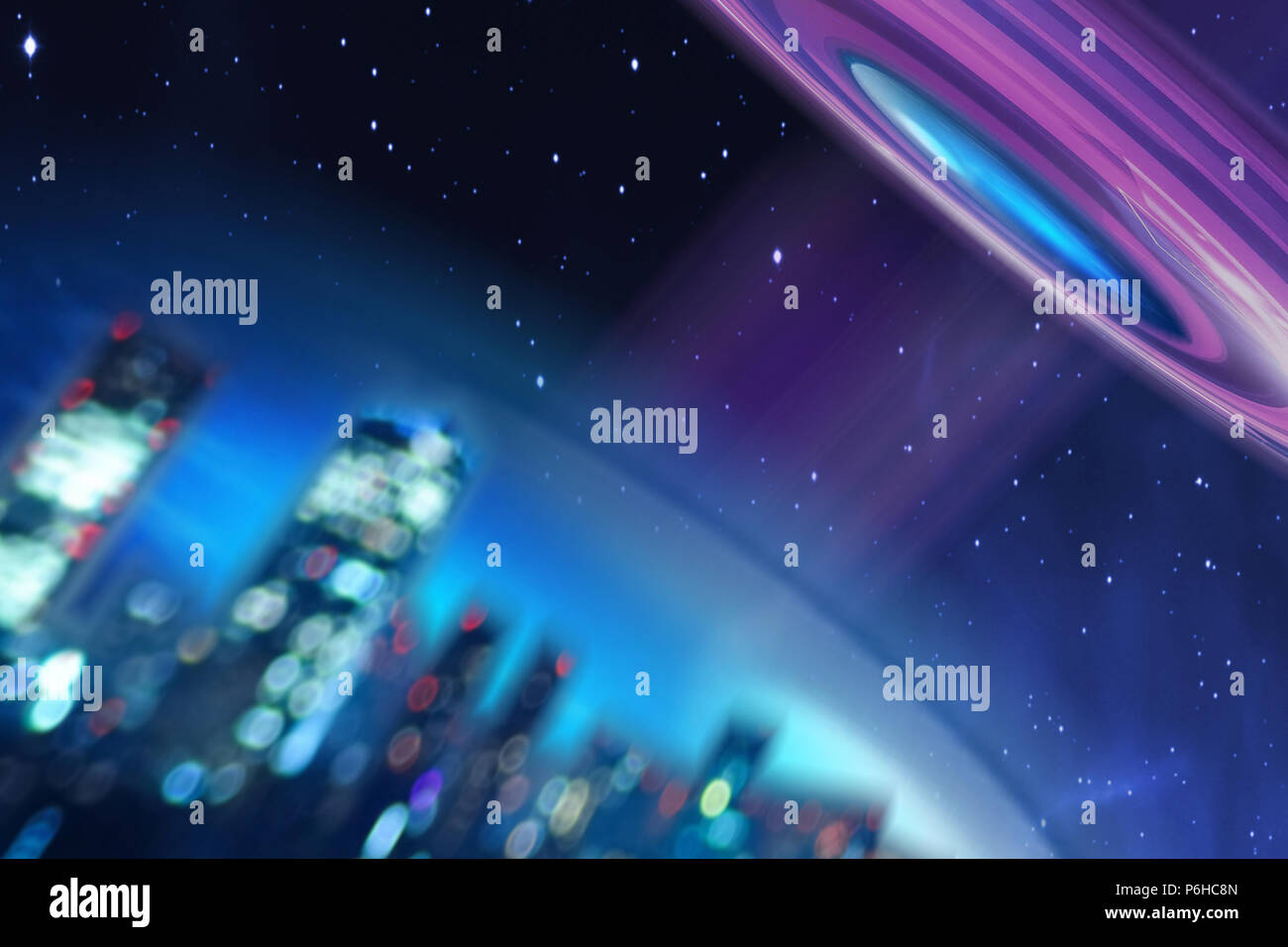 Conceptual illustration of a flying saucer or UFO flying over the Earth and directing its beam. Extraterrestrial intrusion or extraterrestrial contact - Stock Image