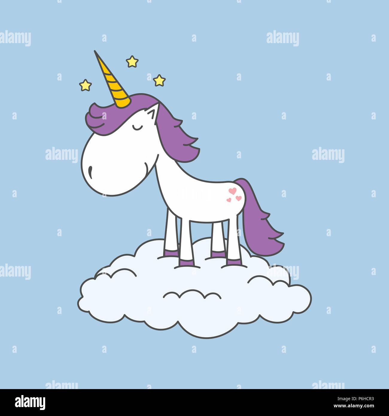 Very Cute Cartoon Unicorn Standing On A Cloud Lovely Illustration