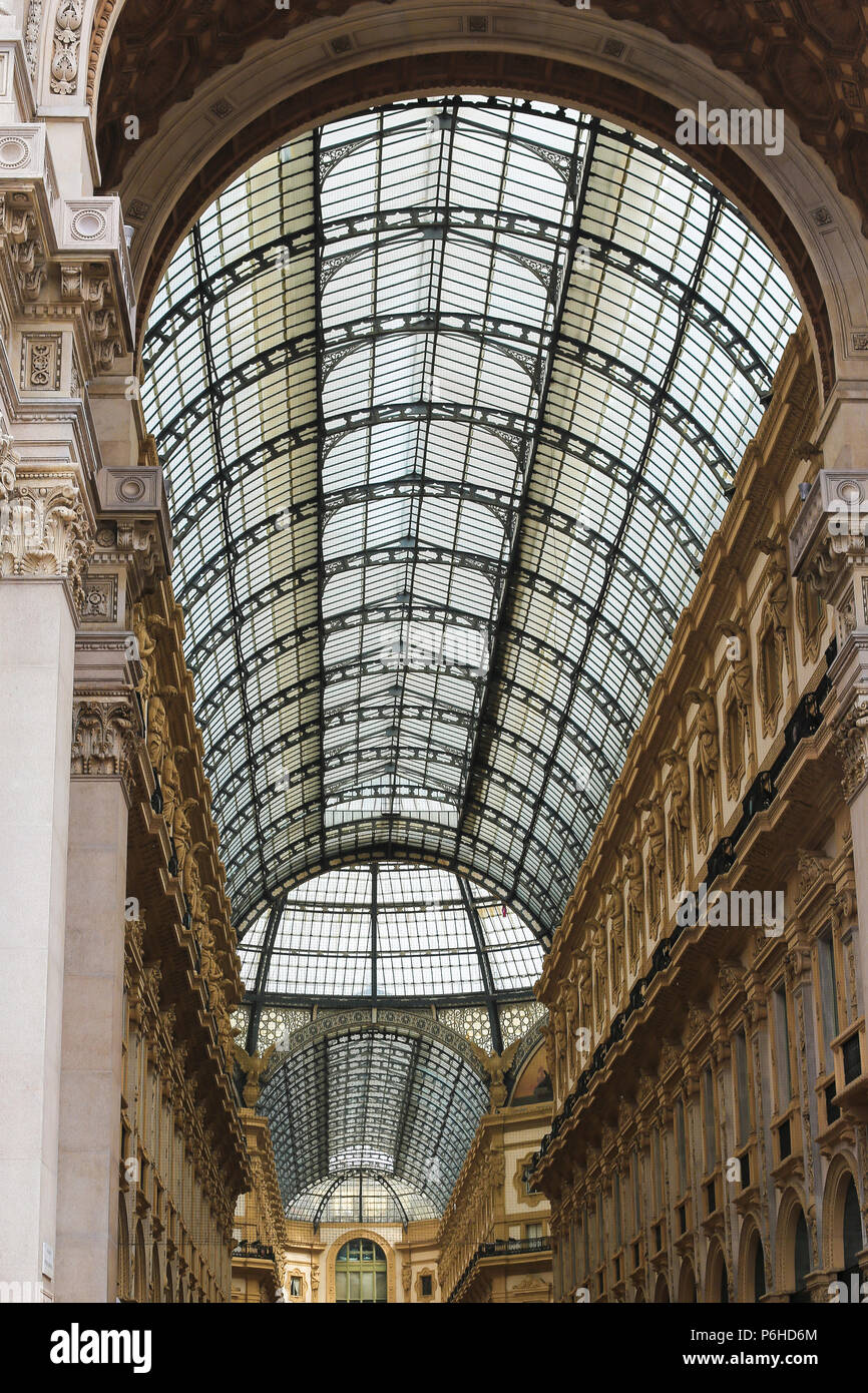Galleria Vittorio Emanuele II from inside the arcade. - Stock Image