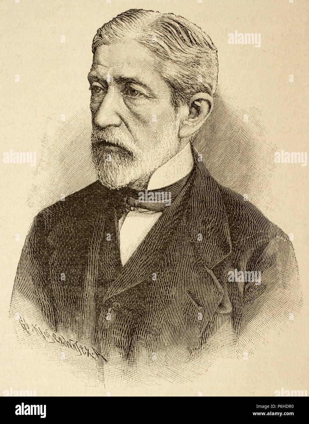 Hermann von Mallinckrodt (1821-1874). German parliamentarian. Engraving. Historia Universal, 1885. - Stock Image