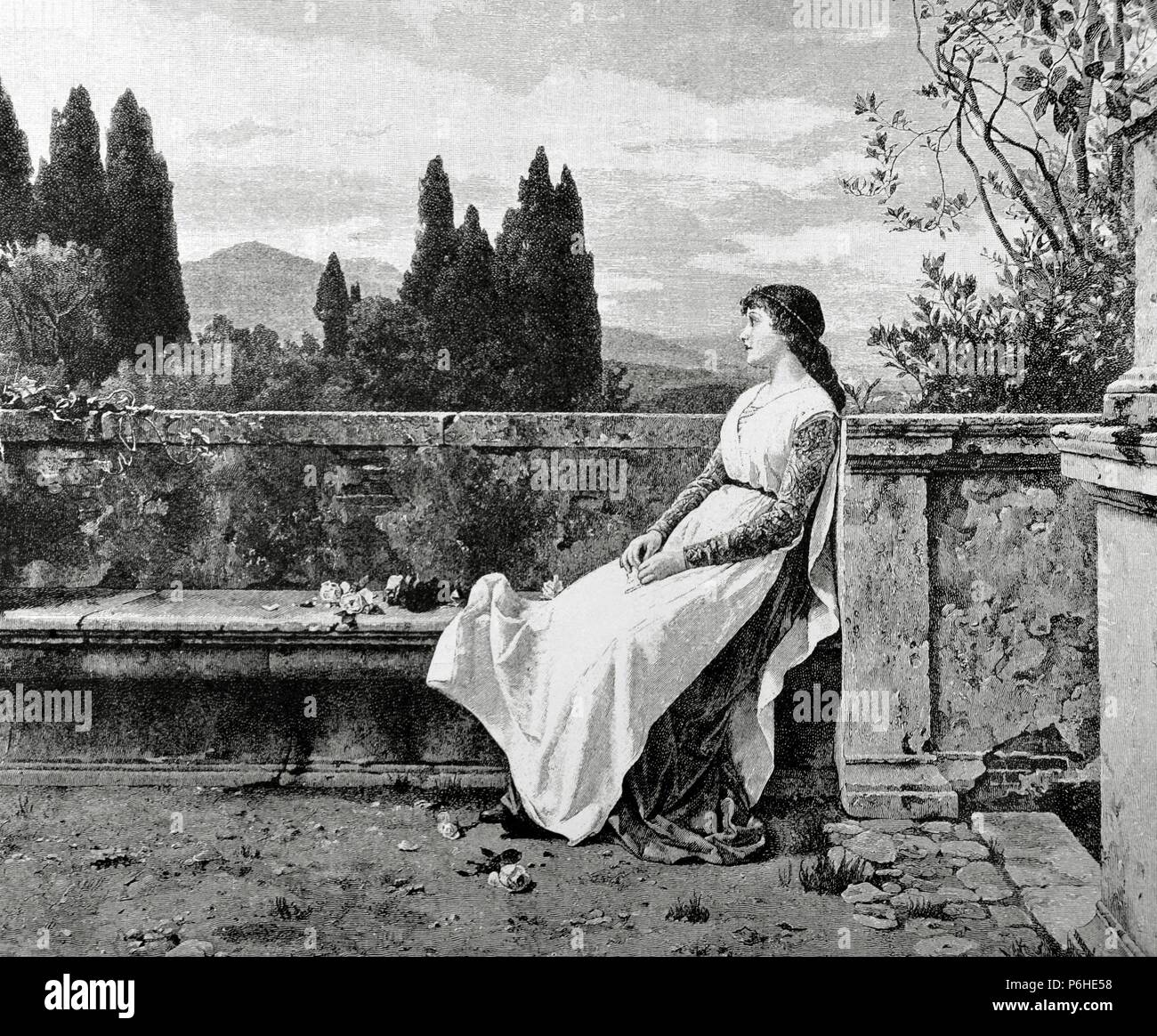 Matilda of Tuscany or Matilda of Canossa (1046-1115). Italian noblewoman. Supporter of Pope Gregory VII during the Investiture Controversy. Engraving by R. Brend'Amour. La Ilustracion, 1887. - Stock Image