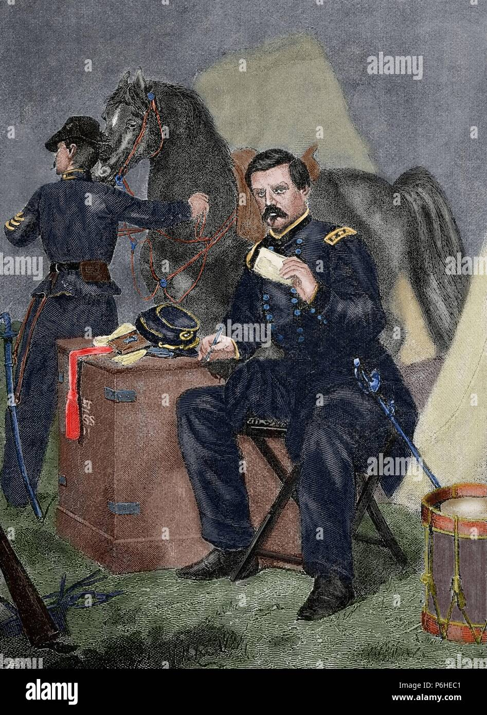 George Brinton McClellan (1826 âAi_ 1885). Major general during the American Civil War and the Democratic presidential nominee in 1864, who later served as Governor of New Jersey. Engraving. Colored. - Stock Image