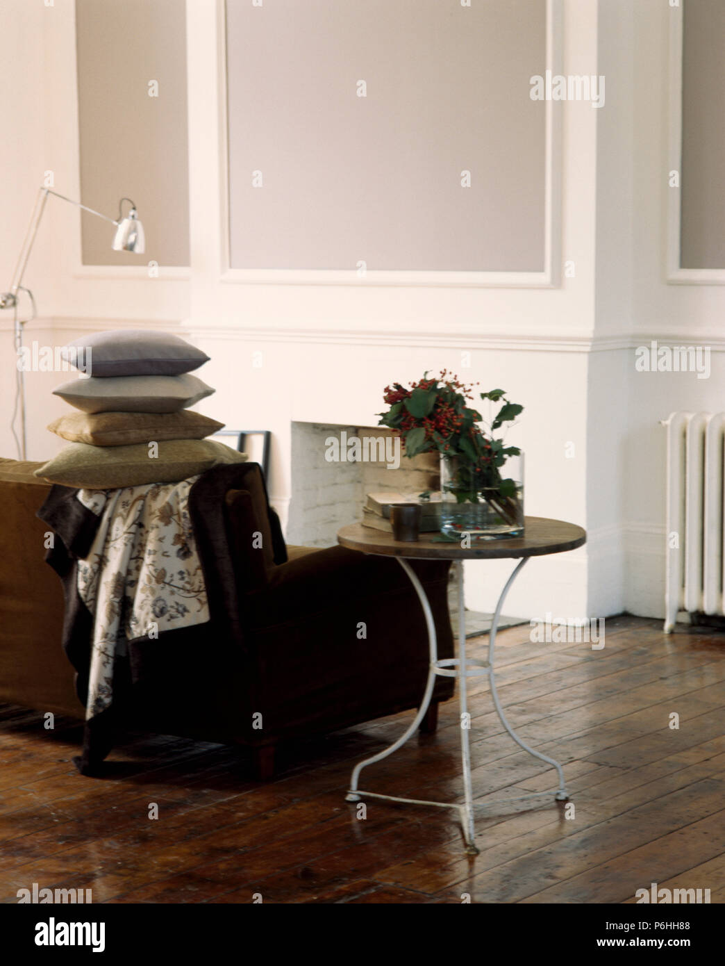 Brilliant Small French Vintage Metal Table Beside Sofa Piled With Ibusinesslaw Wood Chair Design Ideas Ibusinesslaworg