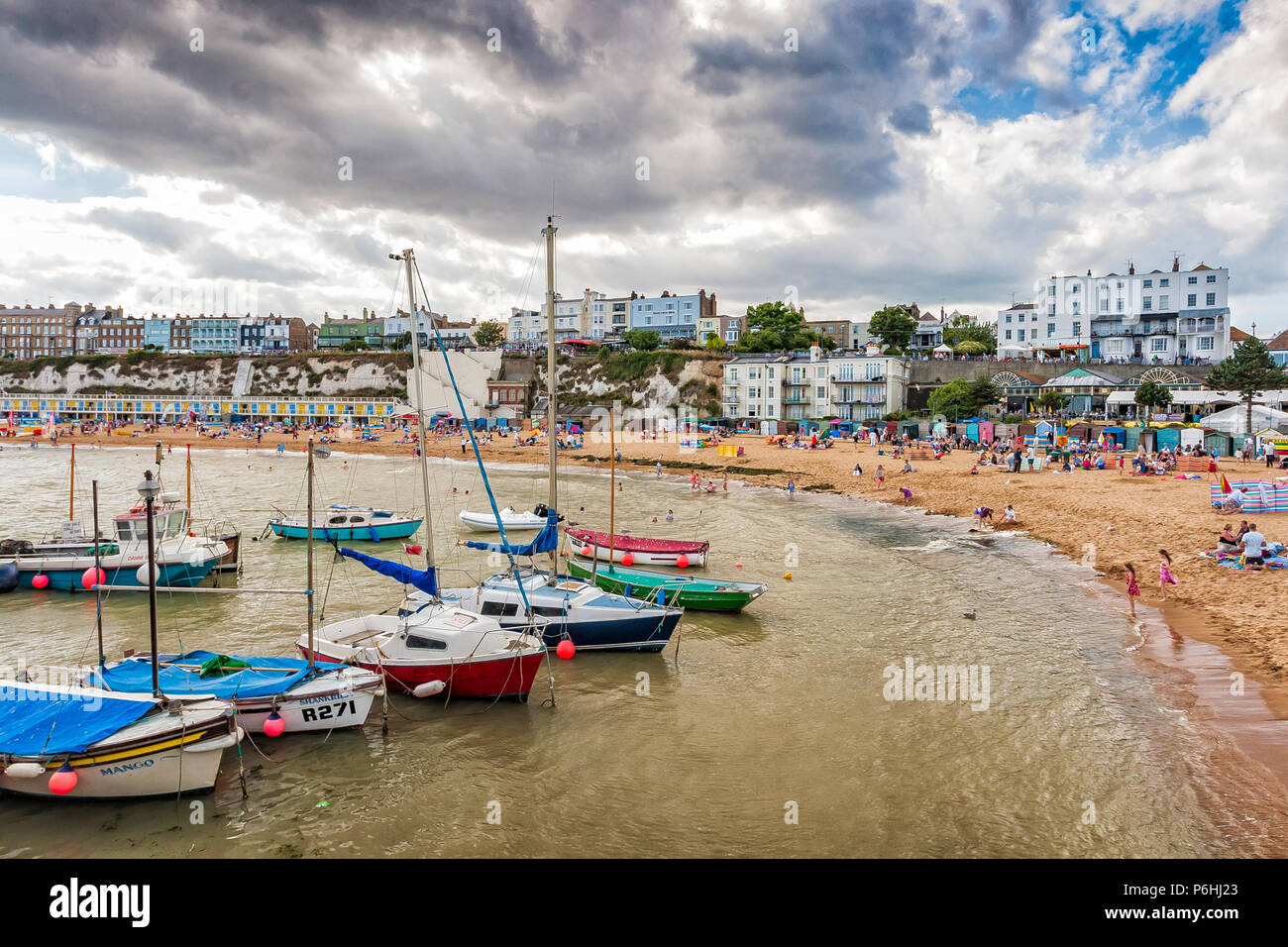 Boats moored in harbour at Viking Bay, Broadstairs, Kent, England Stock Photo