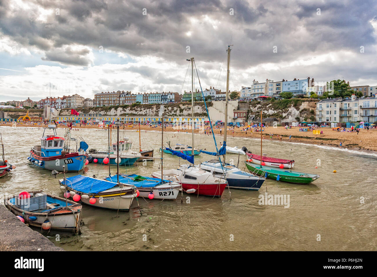 Boats moored in harbour at Viking Bay, Broadstairs, Kent, England - Stock Image
