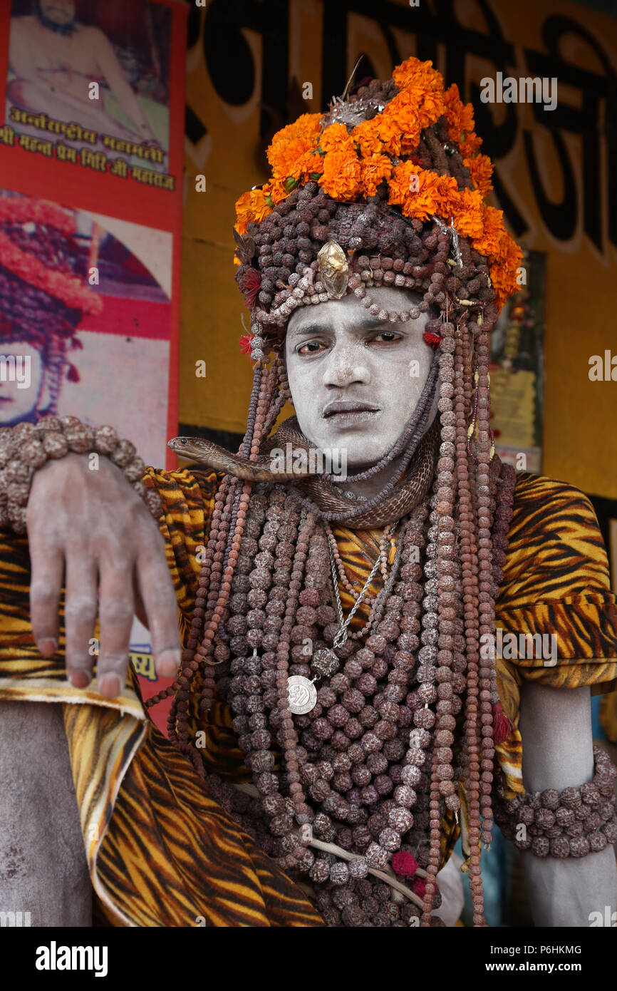 Portrait of Naga saddhu sadhu baba during Maha Kumbh mela 2013 in Allahabad , India - Stock Image