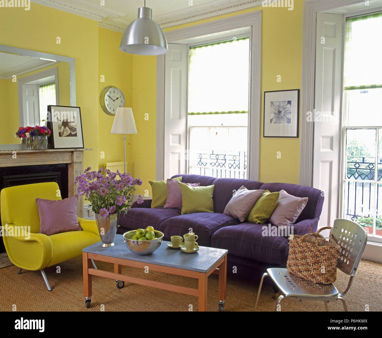 Magnificent Purple Sofa And Modern Yellow Armchair Inl Yellow Townhouse Ibusinesslaw Wood Chair Design Ideas Ibusinesslaworg
