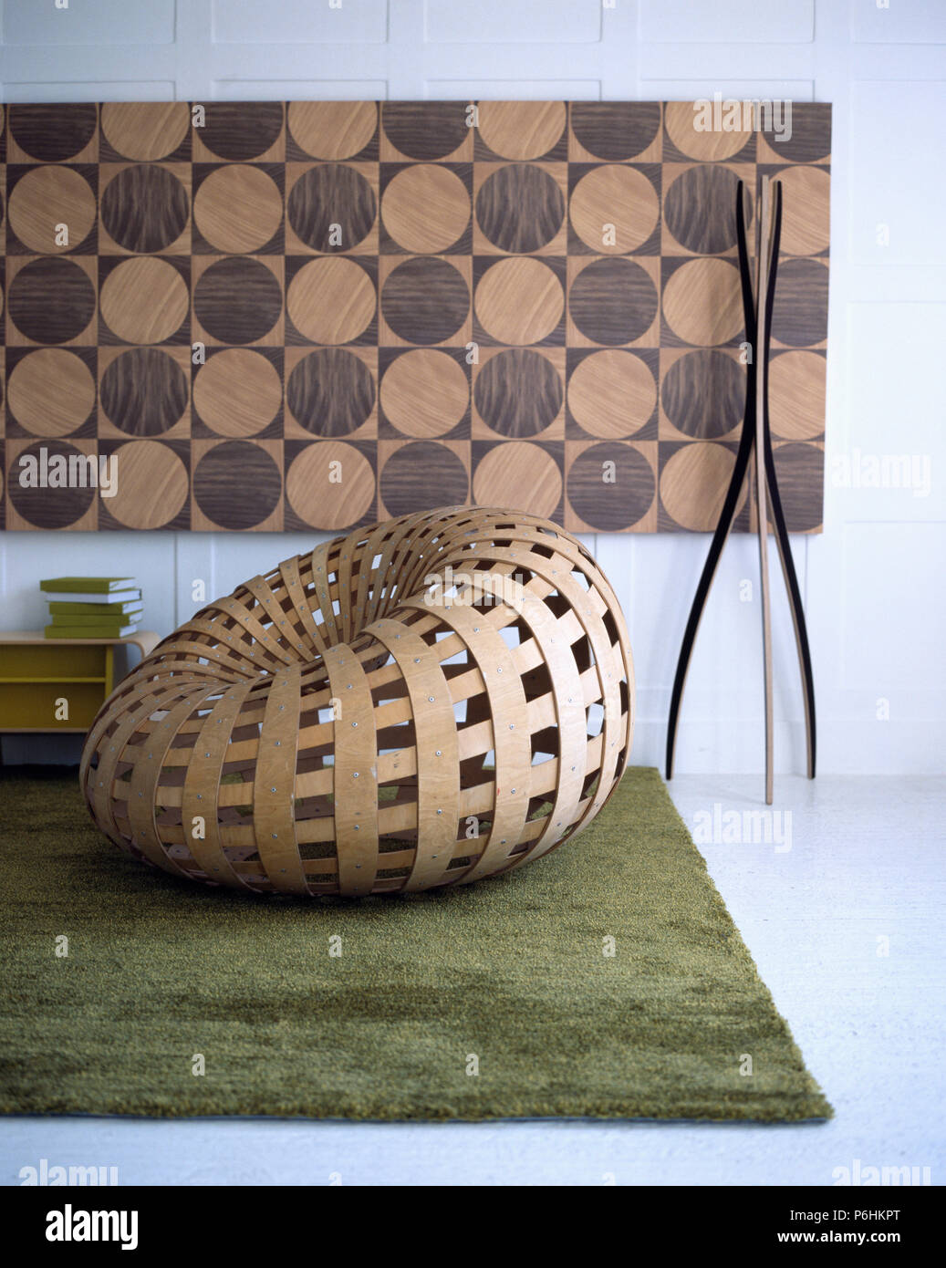 large abstract picture in modern living room with woven plywood rh alamy com Plywood Chair Mat Plywood Furniture