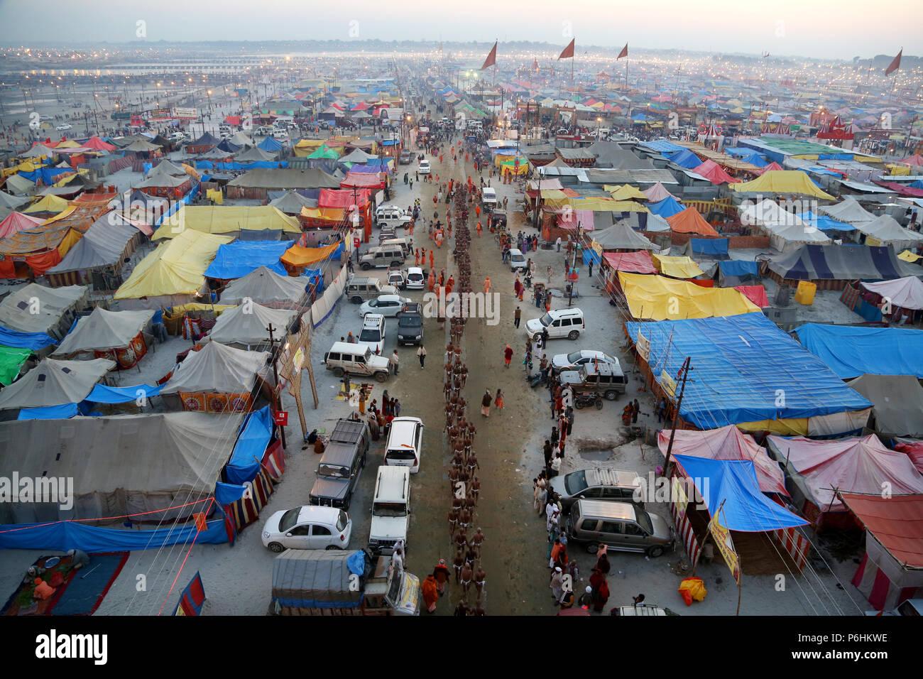 Tents / landscape during Maha Kumbh mela 2013 in Allahabad , India Stock Photo