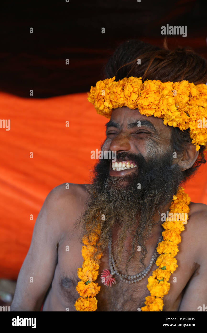 Naga sadhu saddhu baba during Shivaratri celebration in varanasi , India - Stock Image