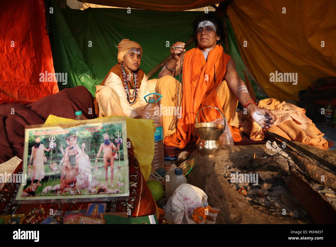 Local woman guru satvi Maha Kumbh mela 2013 in Allahabad , India - Stock Image