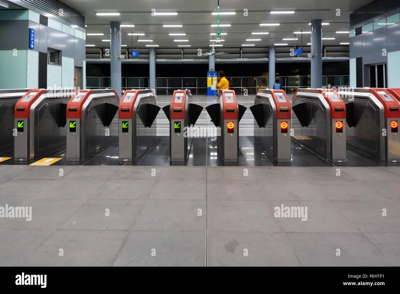 KUALA LUMPUR, MALAYSIA : September 9, 2017 : Entrance gate of Kuala Lumpur Mass Rapid Transit (MRT) stations. MRT alleviate the severe traffic congest - Stock Image