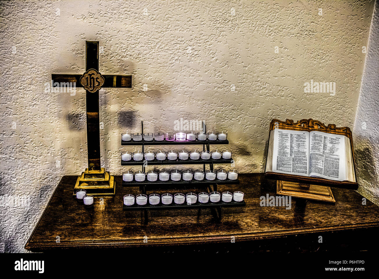 Votive Candle Table In The Calvary United Methodist Church Stock