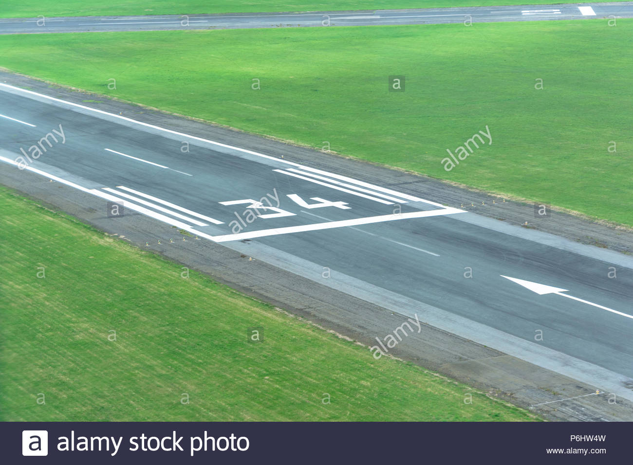 Runway 34 is used for both take off and landing of light aircraft - Stock Image