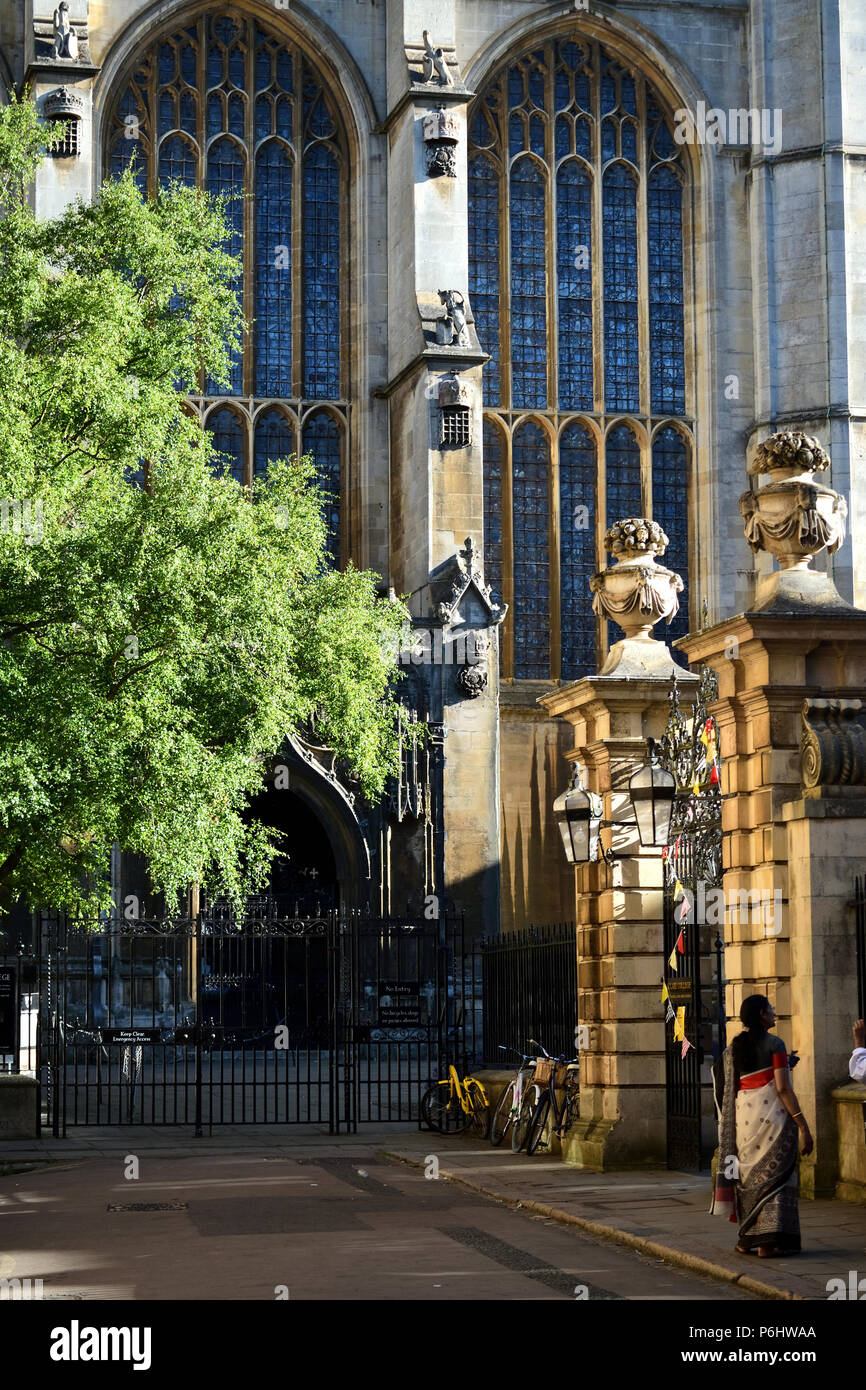 The gates to King's Chapel and Clare College, University of Cambridge - Stock Image