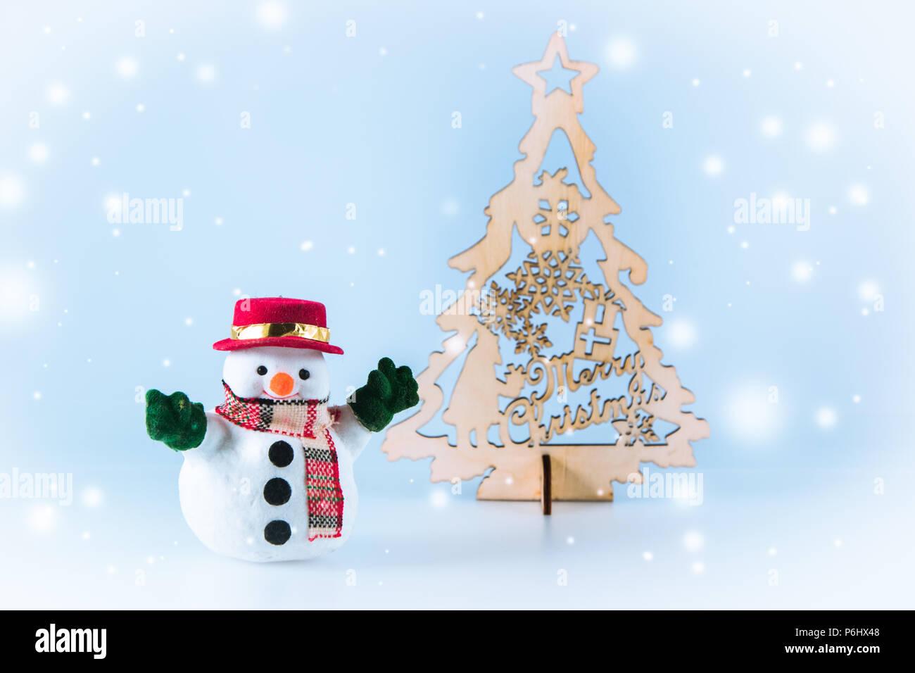 snowman near christmas tree on white background snow flake is falling down - White Christmas Tree Snowman