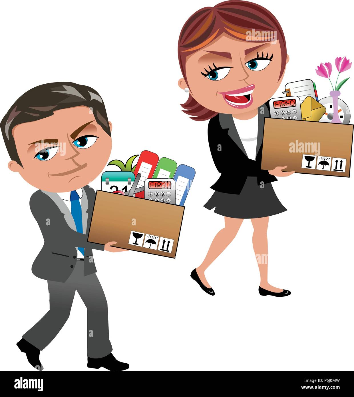 Fired Cartoon businesswoman and businessman carrying a box of personal items isolated on white - Stock Vector