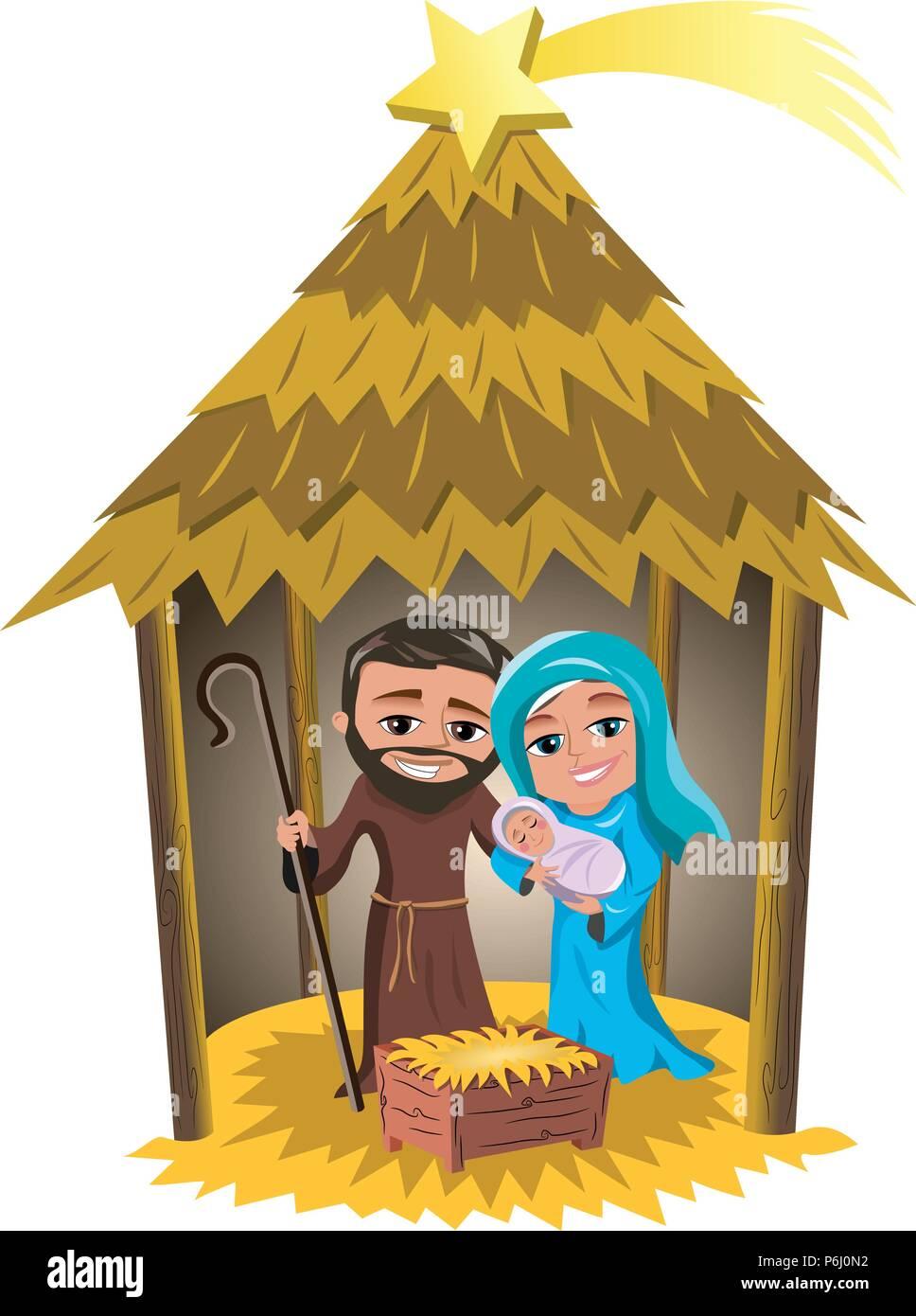 Christmas nativity scene with Joseph and Mary holding newborn Jesus ...